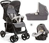 Hauck Shopper SLX Trio Set 3 in 1 Kinderwagen bis 25 kg + Babyschale + Babywanne mit Matratze ab Geburt, Buggy mit Liegefunktion, Getränkehalter, leicht, klein faltbar, stone grey (grau) - 7
